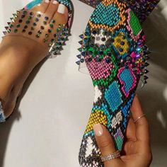 Woman Camouflage Snakeskin Rubber Slippers Transparent Flat Slippers for Women Glitter Rivet Sexy Slides Outdoor Beach Slippers Summer Slippers, Roman Fashion, Snake Patterns, Rhinestone Shoes, Studded Flats, Flat Sandals, Shoes Sandals, Leopard Sandals, Chunky Sandals