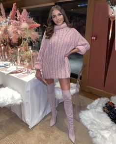 Olivia Culpo sparkled in a Oversized Ermanno Scervino dress with a woolen fabric, sleeves, embellished and a turtleneck Olivia Culpo, Baby Pink Dresses, Mini Dresses, Ermanno Scervino, Shows, Fall Dresses, Autumn Winter Fashion, Fall Fashion, Classy Fashion