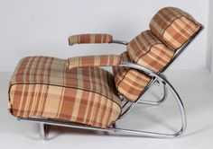 """Gilbert Rohde / Troy / Dorothy Liebes """"Trees Family"""" American Art Deco adjustable lounge chair and ottoman c. 1934   From a unique collection of antique and modern armchairs at http://www.1stdibs.com/furniture/seating/armchairs/"""