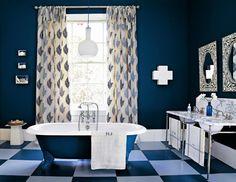 Awesome Bathroom Paint Ideas Blue Design With Dark Blue Bathroom Paint Ideas Bautified With Checkered Floor Curtain Bathtub And Washbasin Decoration Ideas Blue Bathroom Paint, Dark Blue Bathrooms, Blue Bathrooms Designs, Bathroom Floor Tiles, Bathroom Tubs, Bath Tub, White Bathroom, Bathroom Color Schemes, Bathroom Colors