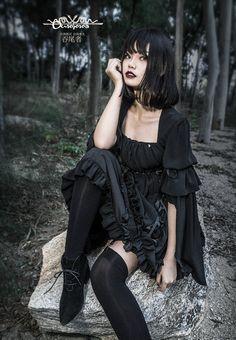 Ouroboros -World of Darkness- Gothic Lolita Normal Waist OP Dress Steam Punk, Steam Girl, Hot Goth Girls, Gothic Girls, Punk Fashion, Gothic Fashion, Nylons, Gothic Lingerie, Lolita Goth