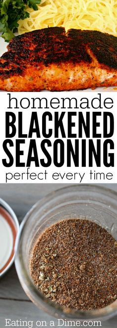 Homemade Blackened Seasoning Forget buying blackened spices when you can make this easy Homemade Blackened Seasoning Recipe at home for a lot less. Enjoy Blackened salmon, blackened tilapia, and more with this easy blackened seasoning. Blackened Fish Recipe, Blackened Tilapia, Homemade Spices, Homemade Seasonings, Homemade Recipe, Seafood Recipes, Cooking Recipes, Tilapia Recipes, Salmon Steak Recipes