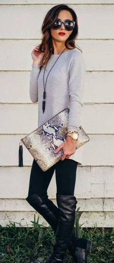 Grey Knit / Black Leggings / Black Leather Boots