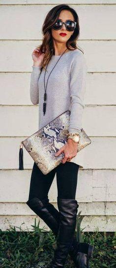#winter #fashion /  Grey Knit / Black Leggings / Black Leather Boots