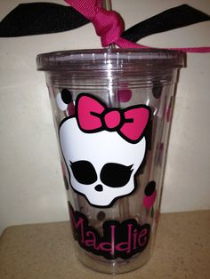 Personalized Monster High Tumbler with Lid and Straw