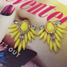Bright Yellow Rock Star Stud Earrings New.  7 Boutique Jewelry Earrings