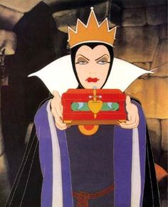 "Walt Disney animation movie enchanting fairytale Snow White and the Seven Dwarfs, Queen: ""I'll need you to put her heart in this pretty box..."""