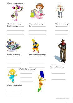 A collection of English ESL worksheets for home learning, online practice, distance learning and English classes to teach about wear, wear English Activities For Kids, Learning English For Kids, Teaching English, Kids Learning, Esl Lessons, English Lessons, Learn English, English English, 1st Grade Worksheets