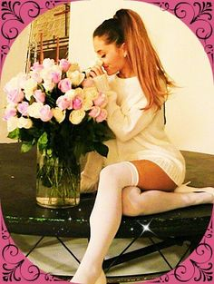 Ariana Grande Sexy+Sweet in a White Sweater Dress and White Thigh Highs  Get Your Sexy White Thigh Highs for ONLY $10!!! http://www.hotlegsusa.com/P/22/LegAvenueStayupLycraSheerThighHighswithSiliconLaceTop (Plus Size and Other Colors Available!)
