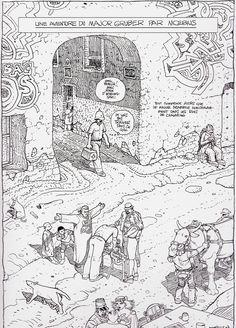 """Moebius 2007 - Page from """"Le Chasseur Déprime"""" Stardom Edition, Paris - 2008"""