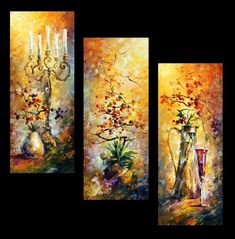Original Recreation Oil Painting on Canvas Title: Oriental Dreams (Set of 3 Paintings) Size: 16 x 40 Each Piece Condition: Excellent Brand new Gallery Estimated Value: $ 8,500 Type: Original Recreation Oil Painting on Canvas by Palette Knife This is a recreation of a piece which was already sold. Its not an identical copy, its a recreation of an old subject. This recreation will have texture unique just to this painting, a fingerprint that can never be repeated. My recreation will look…