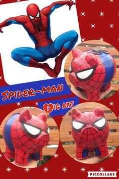 Alcancias pintadas a mano Pig Art, Pottery Painting, Piggy Bank, Baby Room, Spiderman, Cactus, Ceramics, Superhero, Country