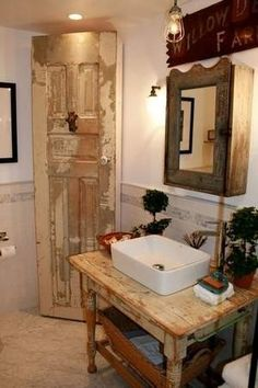 bathroom vanity and storage cabinet, made from a repurposed table and door by eddie