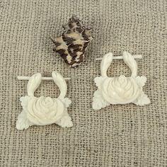 Bone Earrings - 1-Pair - Blooming Rose Hoops - Organic Bone Stick Earrings - Fake Gauge Organics on Etsy, $16.50