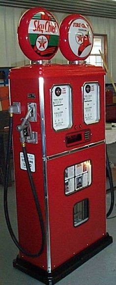 double faced gas pump.  www.garageart.com