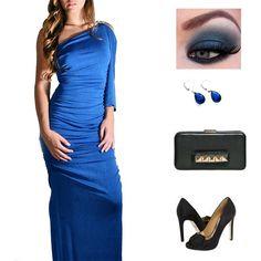 Vestido Azul Rey Accesorios Rojos