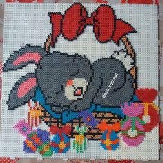 Easter bunny hama perler beads by Deco. Perler Bead Designs, Hama Beads Design, Diy Perler Beads, Perler Bead Art, Melty Bead Patterns, Hama Beads Patterns, Beading Patterns, Crochet Baby Mobiles, Motifs Perler