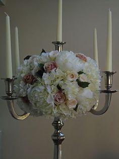 Sia white hydrangea / peony & pink / cream rose artificial wedding flowers on a candelabra for hire. Wedding Centrepiece. www.silkpetal.co.uk