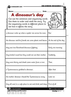 Use these sequencing words to order and retell the story of a dinosaur's day.