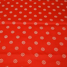 """vintage 70s red and white novelty fabric, featuring flocked flowers, 46"""" x 34"""""""