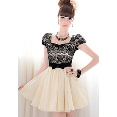 Elegant Lace and Bowknot Embellished Square Neck and Pleated Design Women's Polyester Dress