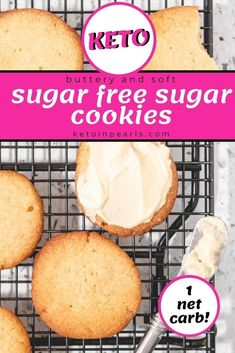 These buttery, sugar-free sugar cookies with crispy edges, a soft center, and delicate crumb are EASY to make. This keto sugar cookie recipe is great for frosting or enjoying on its own. Try it this holiday season for a healthy Christmas cookie! #keto #lowcarb #ketodesserts #lowcarbdesserts #desserts #cookies #sugarfree #healthyrecipes #holidaycookies
