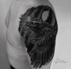 Raven and moon tattoo by Gollandets Art