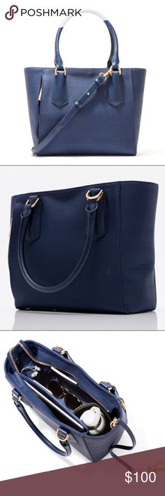 "Dagne Dover Midnight Blue Mini Tote Gently used mini Tote. Comes with dust bag. Specs: Coated Canvas, 100% Genuine Leather Trim, 15"" L x 5"" W x 11"" H, 8.5"" Handle Drop 2.9 lbs Weight, Crossbody Strap Drop Length: 18"" - 20"",  10.5"" Tablet / Notebook Sleeve, Phone Sleeve, Two Mid-Sized (5.5"" x 6"") Pockets, ID/MetroCard Pocket, Water Bottle / Umbrella Holder, Detachable Key Leash, 3 Enlarged Loops (Pens and Lipgloss), Exterior 7"" Pocket, Additional Large Interior Pocket, Detachable Adjustable…"