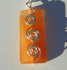 Tangerine Carnelian Rectangle Triple Silver Wire Spiral Pendant #PinPantone