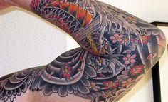 tatuagens masculinas: Flores e padrões
