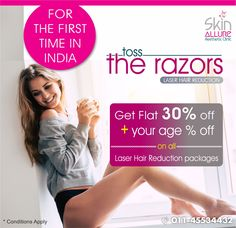 Great Indian Festival Offer!! For the First Time in India Skin Allure Offers Flat 30% OFF + Your age % OFF on all Laser Hair Reduction Packages.  #festivaloffer #indianfestivaloffer #festivaloffer2017 #beauty #skincare #laserhairremoval #laserhairreduction #bodyhair #unwantedhair #excessivebodyhair #hairfree #carefree #dermatologistclinic #skinclinic #skinallure #delhi