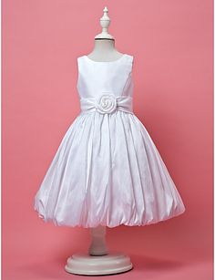 bd35344c8f0   69.99  A-Line   Princess Knee Length Flower Girl Dress - Taffeta  Sleeveless Jewel Neck with Draping   Sash   Ribbon   Flower by LAN TING  BRIDE®