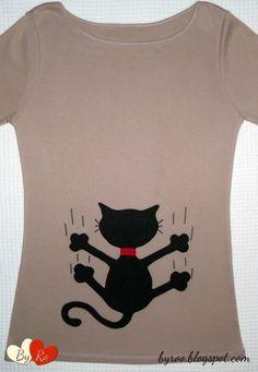 Sewing Appliques, Applique Patterns, Applique Designs, Sewing Patterns, Cat Applique, Polo Shirt Women, T Shirts For Women, Polo Shirts, Simple Cat Drawing