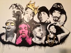 Painted Wall Mural I painted today for Nick's fraternity room...His rappers of choice. Tupac, Biggie Smalls, Eminem, Snoop Dogg, Kanye, A$ap Rocky, Kendrick Lamar, and Jay-Z.