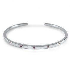 sterling silver bracelet + 5 pink ruby embedded stones