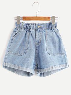 blue elastic waist rolled hem denim shorts $16