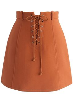 Lace-up Era Bud Skirt in Orange - New Arrivals - Retro, Indie and Unique Fashion