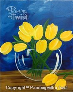 """Create your own """"Yellow Tulips"""" painting while having fun with friends!   (Sunday, Aug 14 @ 4pm)"""