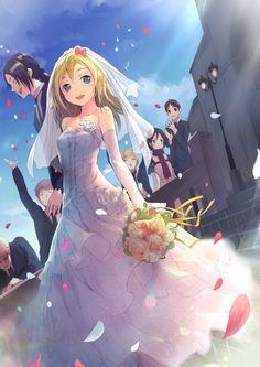 ✮ ANIME ART ✮ wedding. . .bride. . .groom. . .bridal. . .wedding dress. . .bouquet. . .veil . . .flower petals. . .cute. . .kawaii