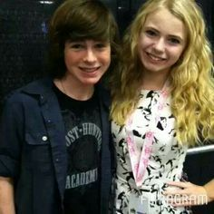 Chandler Riggs with a fan.