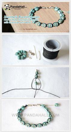 Shamballa Bracelet Design - How to Make Shamballa Bracelets with turquoise skull beads