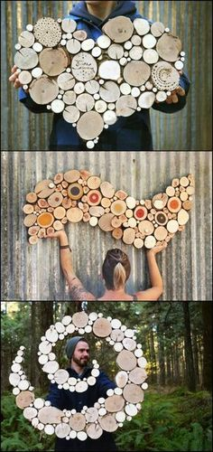 Wall sculptures made from reclaimed wood No trees were harmed in the making of these beautiful works of art! :) Ben and Nicole Labonte of Oregon based Wild Slice Designs search for dead and discarded tree limbs to create these wonderful wall sculptures. Diy Wall Art, Wood Wall Art, Diy Art, Garden Wall Art, Unique Wall Art, Wooden Art, Diy Wanddekorationen, Wood Crafts, Diy And Crafts