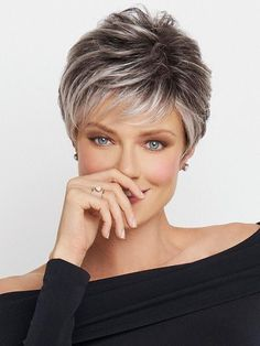 Shop a wide variety of monofilament wigs. These high quality wigs give the look of real hair growing from the scalp, for the most natural look possible. Browse our quality mono wigs today! Short Grey Hair, Short Hair Cuts For Women, Short Hairstyles For Women, Short Haircuts, Easy Hairstyles, Layered Hairstyles, Summer Hairstyles, Grey Pixie Hair, Black Hair