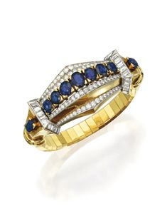 18 KARAT TWO-COLOR GOLD, SAPPHIRE AND DIAMOND BRACELET, BOUCHERON, PARIS, CIRCA 1945. Centered by a row of nine oval and round sapphires, framed and accented by numerous round and single-cut diamonds weighing approximately 2.80 carats, gathered at the sides by geometric motifs set with numerous baguette diamonds weighing approximately 3.10 carats, gross weight approximately 42 dwts, internal circumference 6¼ inches, signed Boucheron Paris, numbered 3.087, with French assay marks.