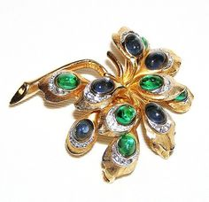 Boucher+Blue+and+Green+Peacock+Eyes+Brooch+by+AgedandOpulentJewels,+$145.00
