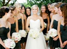 black dresses with pastel bouquets...so elegant and timeless