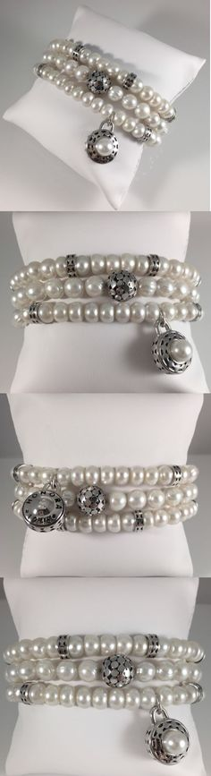 Pearl 164316: Gorgeous Set Of Three Genuine Honora Pearl And Sterling Silver Bracelets -> BUY IT NOW ONLY: $99 on eBay!