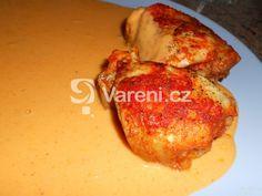 Velmi jednoduchý recept na kuře na paprice. Vareni.cz - recepty, tipy a články o vaření. French Toast, Treats, Chicken, Cooking, Breakfast, Food, Decor, Red Peppers, Sweet Like Candy