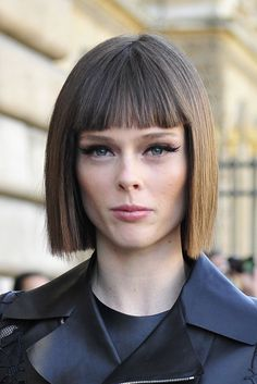Canadian Model Coco Rocha Is Pregnant! Hair Health And Beauty, Hair Beauty, Colorful Highlights In Brown Hair, Blunt Hair, Blunt Bob, Jessica Szohr, Wedding Hair Colors, Bob Haircut With Bangs, Shot Hair Styles
