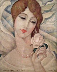 Gerda Wegener: Girl with a rose (Lili) Paris 1928